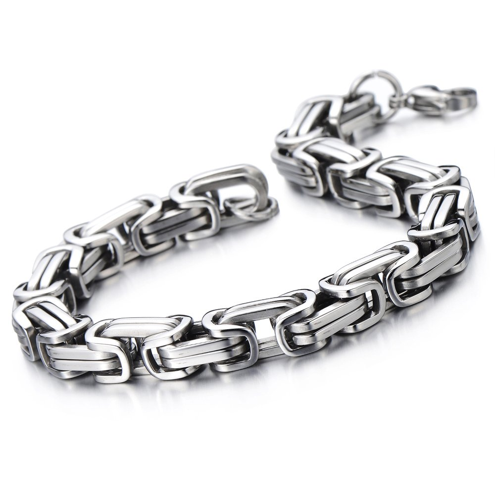 Masculine Style Stainless Steel Braid Link Bracelet for Men Silver Color Polished COOLSTEELANDBEYOND MB-150
