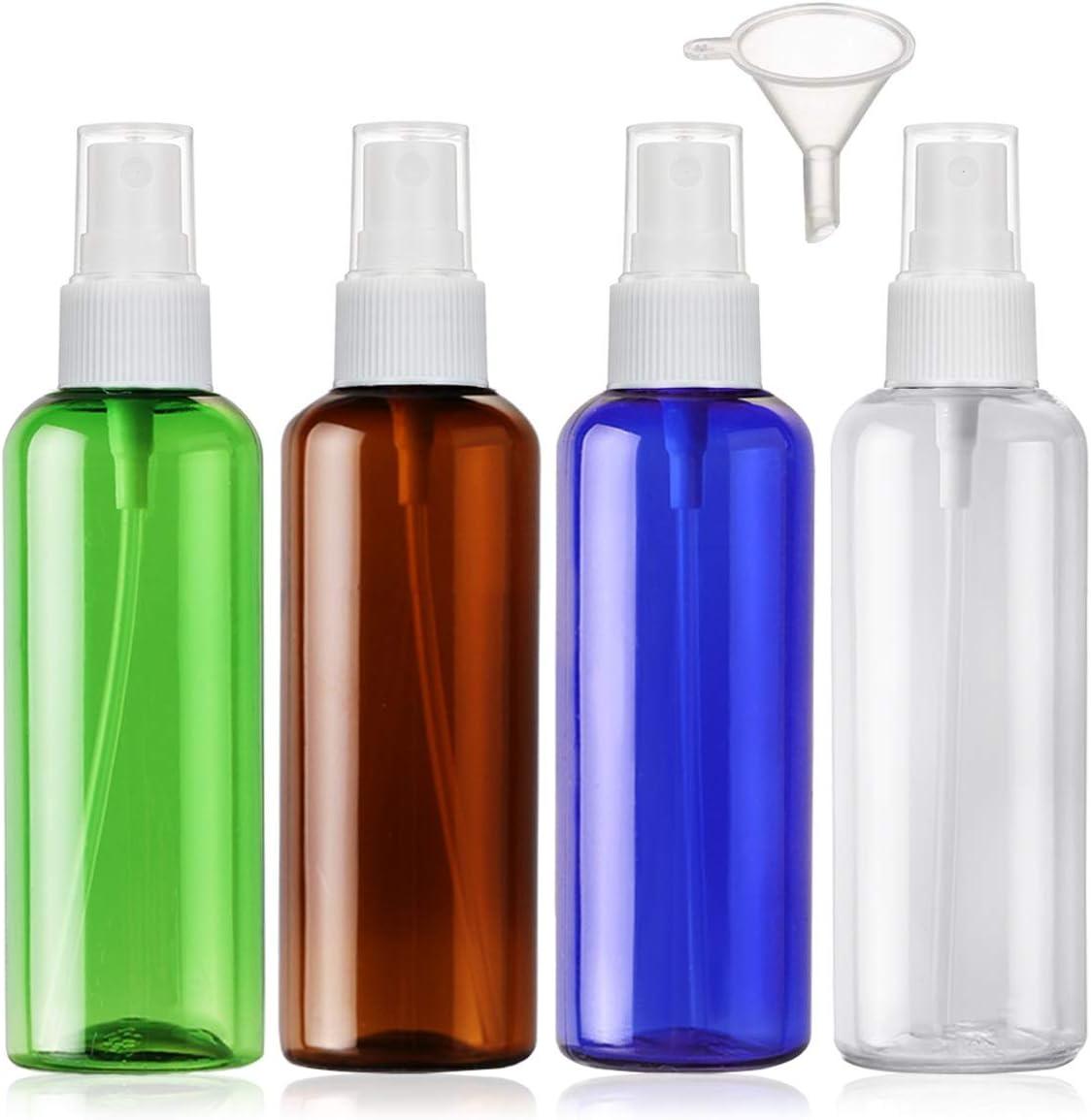 Bote Spray Botellas Vacía De Plástico Transparentes Contenedor de Pulverizador, 4 Piezas (100ml, 4 color)