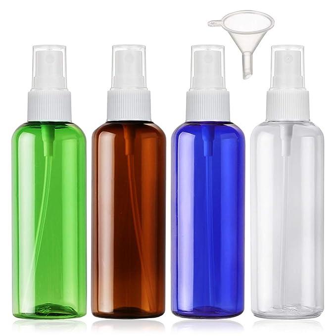Bote Spray Botellas Vacía De Plástico Transparentes Contenedor de Pulverizador, 4 Piezas (100ml, 4 color): Amazon.es: Belleza