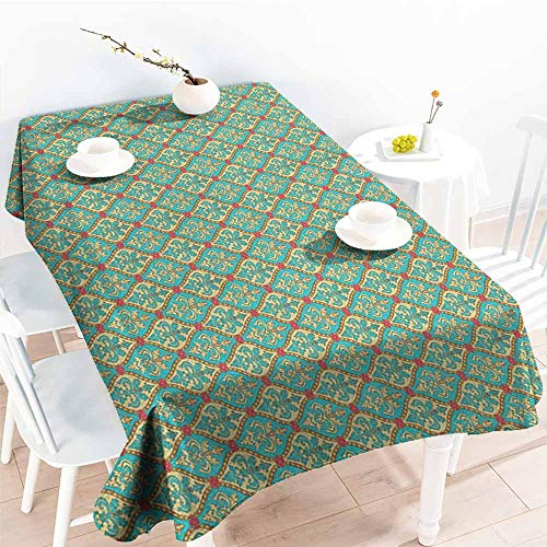 - Outdoor tablecloth rectangular,Turquoise Vintage Oval Shapes Floral Leaves Arrangement Flourishing Nature Illustration,Table Cover for Kitchen Dinning Tabletop Decoratio,W60X90L, Blue Tan Pink