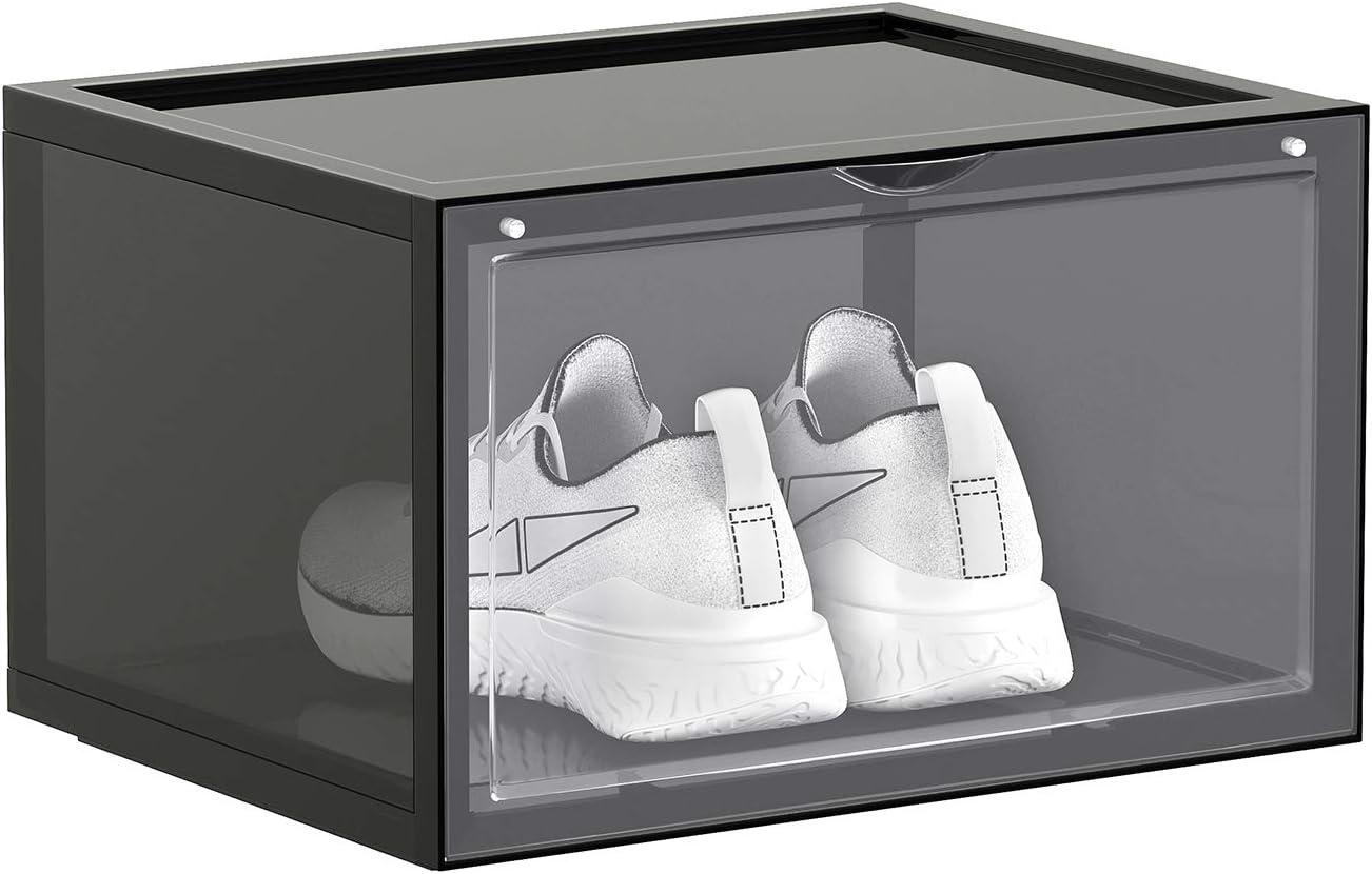 Zapater/ía de Pl/ástico Organizadores de Zapatos Apilables con Puerta Transparente Talla 46 SONGMICS Cajas de Zapatos 36 x 28 x 22 cm Paquete de 6 Gris LSP031B06