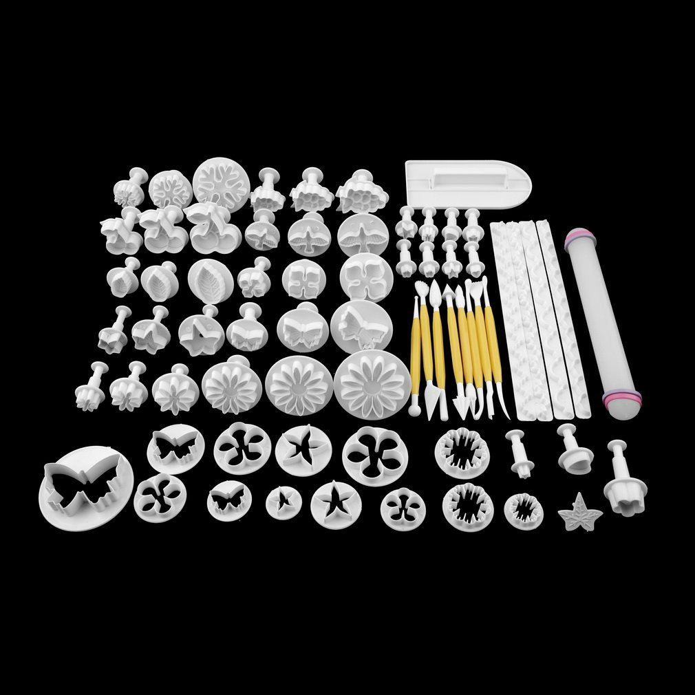 GOGOUP 68Pcs/set Fondant Cake Cookie Sugar Craft Decorating Plunger Flowers Modelling Tools Set DIY Cake Cutters Molds by GOGOUP