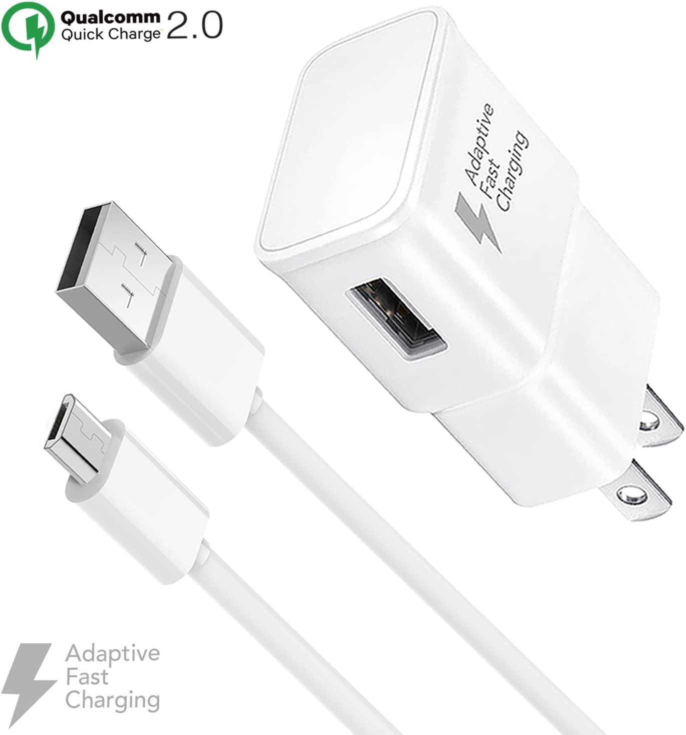 Ixir Adaptive Fast Charger Kit for Samsung Galaxy S7, Edge, J7, S6, Edge, Note 5, Note 4, Sony, HTC, Honor Lite 10, Moto G5, and More, Wall Charger ...