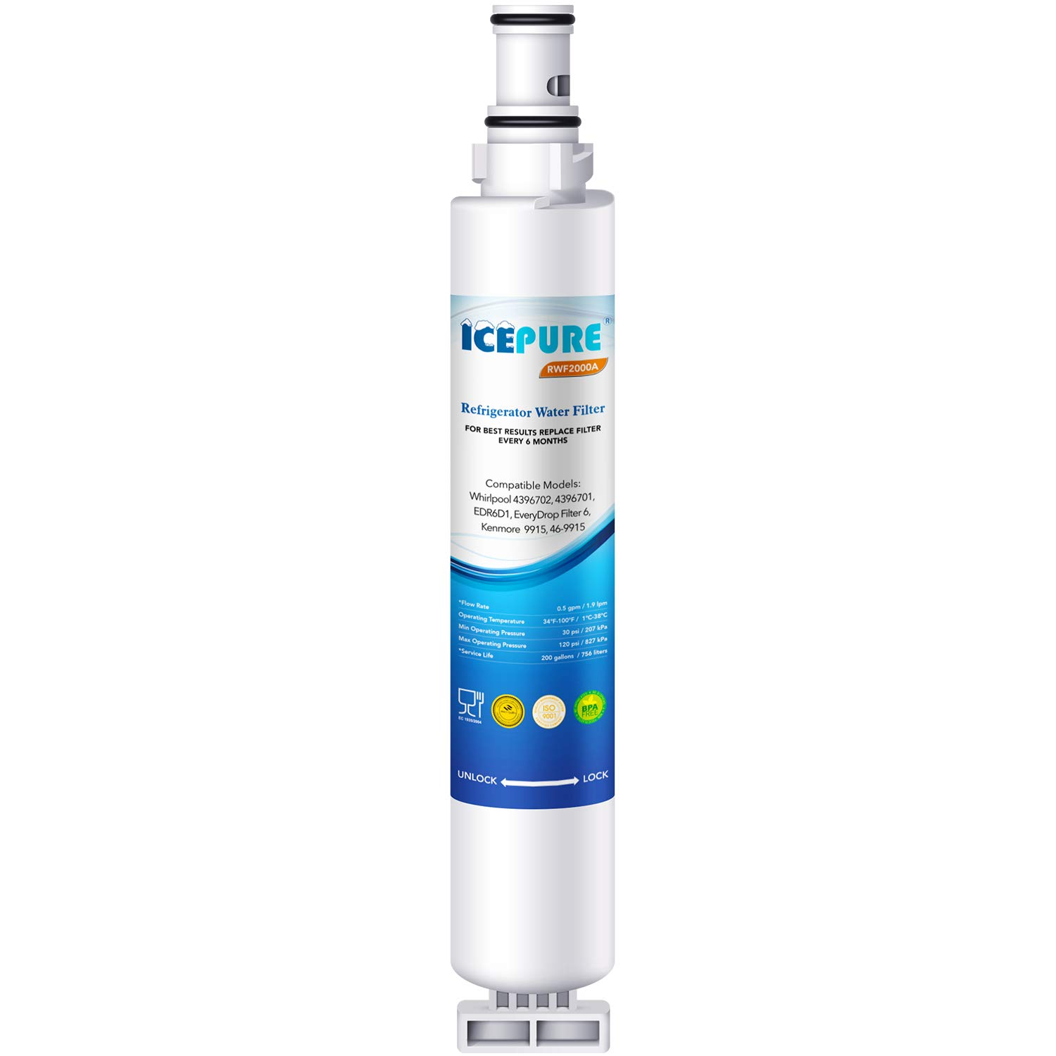 IcePure Water Filter, Compatible with Whirlpool 4396701, 4396702, Kenmore 469915 models, 1 pack