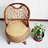 GAOJIAN Rattan Little Stools Living Room Change Shoe Stool Balcony Rattan Wood Little Stool Hand Made Chair Weave