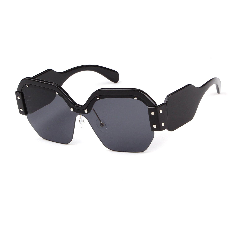 315b606262 Amazon.com  Oversized Sunglasses for Women Semi Rimless Trendy Candy Color Designer  Glasses  Shoes