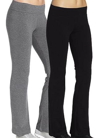 2x leggings femme sport pantalons de sport gris noir joggings Bootleg pants  Workout FR 38 Etiquette 31a600cb318
