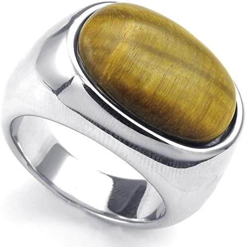 Vintage Silver Stainless Steel Tiger/'s Eye Stone Finger Rings For Men Jewelry