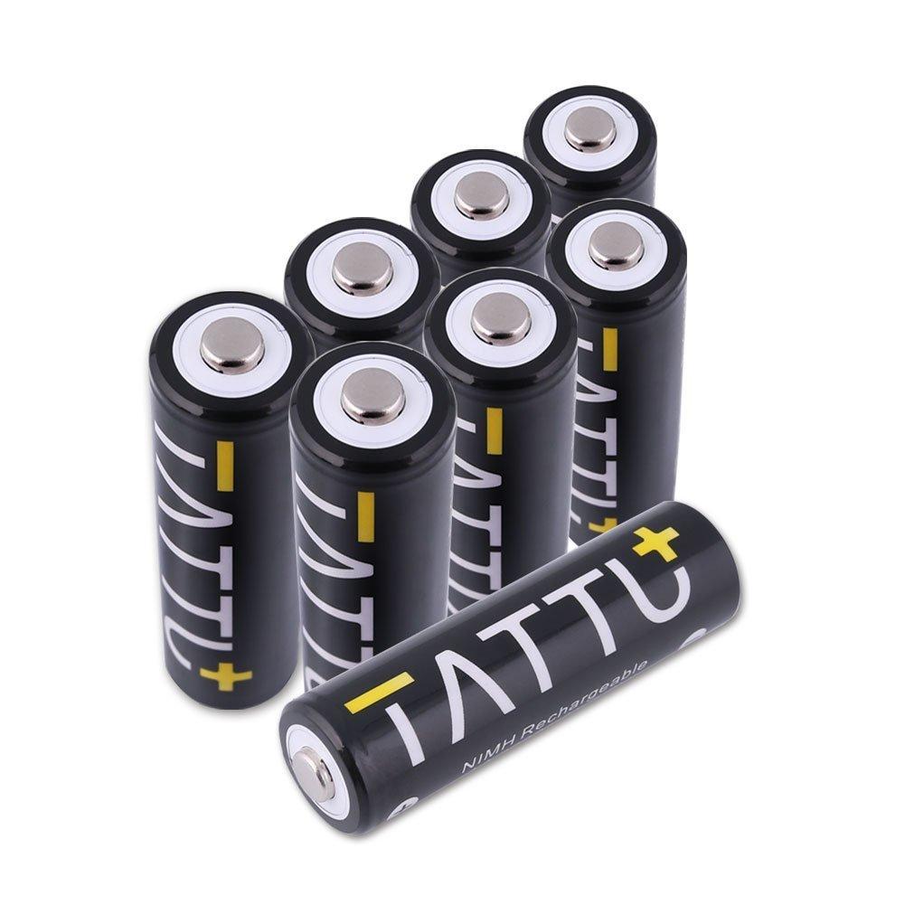 TATTU AA NiMH充電式バッテリー2600 mAh低自己放電高容量電池の懐中電灯、玩具、alarm-clocks、lcd-tvs、Toothbrushes (8pack) B01N1ZX5MT