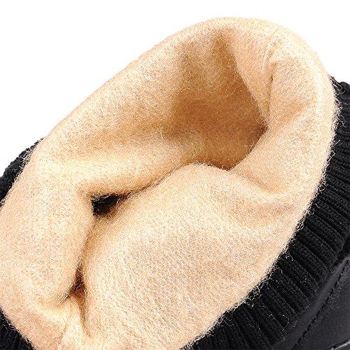 COOLCEPT Damen Retro Halbschaft Stiefel Mit Absatz Warm Inner 361 Brown-H