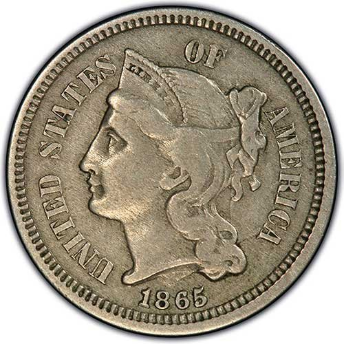 1865 Nickel 3-Cent Piece ~~ Grades VF/30+ ()