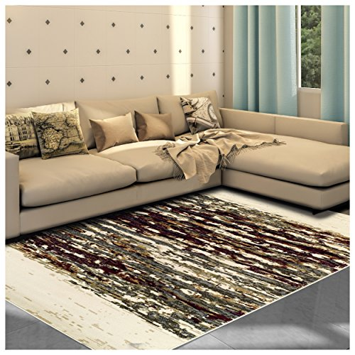 Superior Terrain Collection Area Rug, 8mm Pile Height with Jute Backing, Abstract Distressed Stripe Pattern, Fashionable and Affordable Woven Rugs, 5′ x 8′ Rug For Sale