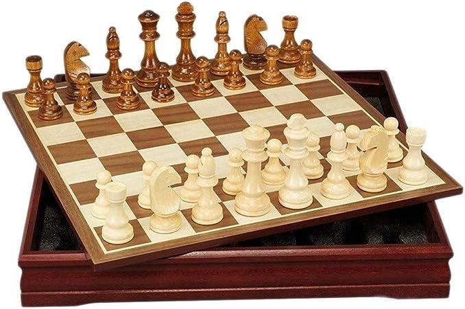 Ajedrez Juego de ajedrez Internacional de Madera Juego de Piezas Juego de Mesa Colección de ajedrez Juego de Mesa portátil Juegos de Viaje Juguetes Regalo ajedrez magnetico (tamaño : 18inch): Amazon.es: Hogar