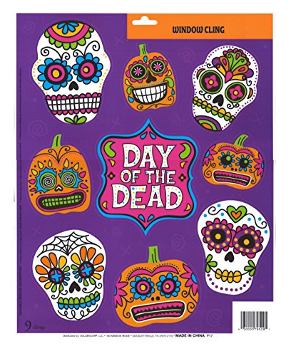Halloween Window Clings - SKULLS Cholo Day of the Dead Designs]()
