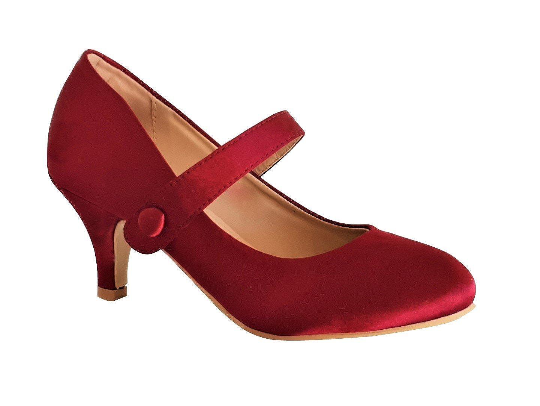 0011 New Ladies Mary Jane Low Kitten Heel Satin Court Shoes
