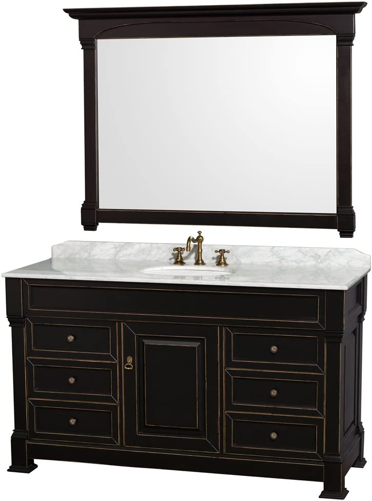 Wyndham Collection Andover 60 inch Single Bathroom Vanity in Black with White Carrara Marble Countertop, Undermount Oval Sink, and 56 inch Mirror