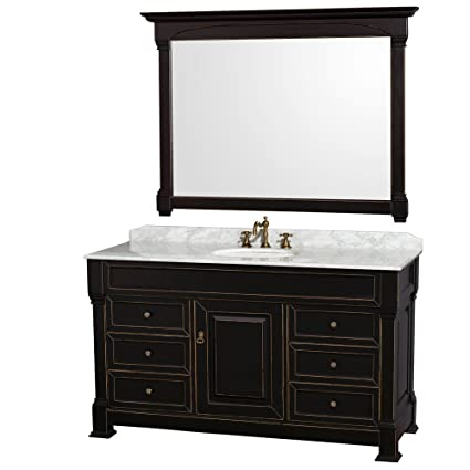 Wyndham Collection Andover 60 Inch Single Bathroom Vanity In Antique Black  With White Carrera Marble Top