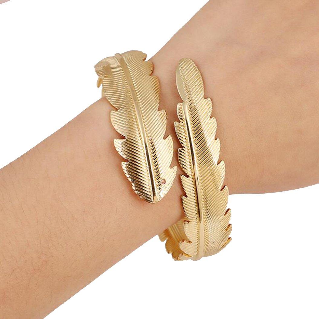 Metal Leaf Sawtooth Bracelet (Gold)