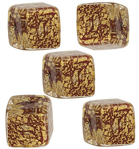 Opaque Red Cracked Gold Foil Cube 10mm, 5 Pieces Authentic Murano Glass Bead