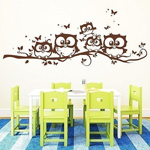 """Wandtattoo-Loft """"Fünf """"Fünf """"Fünf niedliche Eulen auf Einem AST mit Schmetterlingen  - Wandtattoo   49 Farben   4 Größen beige   55 x 139 cm B00TYH40GA Wandtattoos & Wandbilder 1fb39f"""