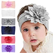 Qandsweet Baby Girl's Headbands with Chiffon Lotus Flower Soft Nylon Headwrap (Mixed 6 Pack)