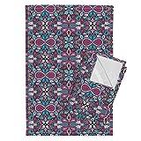 Mirror Repeat Tea Towels Paisley Craze by Siya Set of 2 Linen Cotton Tea Towels