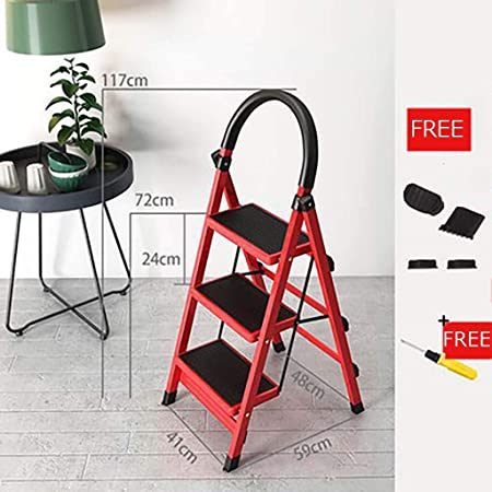 Mini Plegable Escalera,acero Portátil Ligero Multifunción Escaleras De Mano Antideslizante Escalera Para El Hogar Cocina Garaje-rojo 59x41x117cm(23x16x46inch): Amazon.es: Bricolaje y herramientas