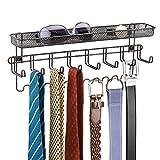 mDesign Closet Organizer Rack with Shelf for Ties, Belts - Wall Mount, Bronze