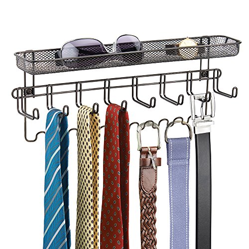 mDesign Closet Organizer Rack with Shelf for Ties, Belts - Wall Mount, Bronze