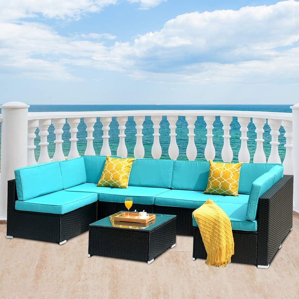 DKLGG 7 Pieces Patio Furniture, Outdoor Rattan Conversation Set, Blue