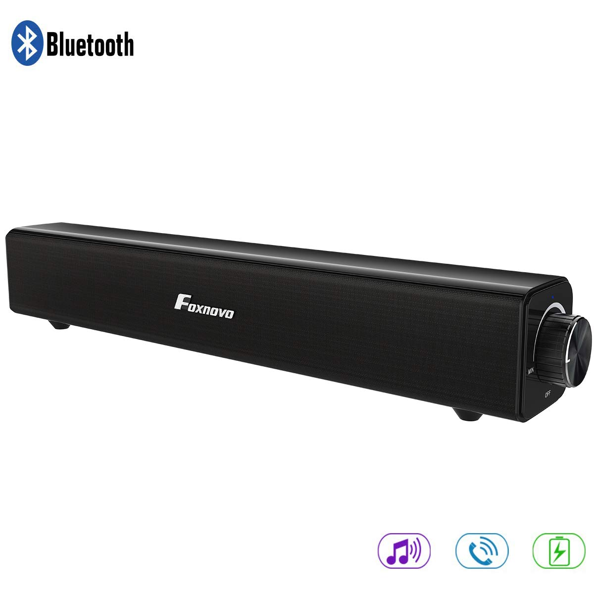 Soundbar, Foxnovo Soundbar TV 20W Wired and Wireless Home Theater Bluetooth Speaker Audio Surround Bluetooth Soundbar for TV, PC, Cell Phone, Tablets Projector or Wireless Devices (Black)