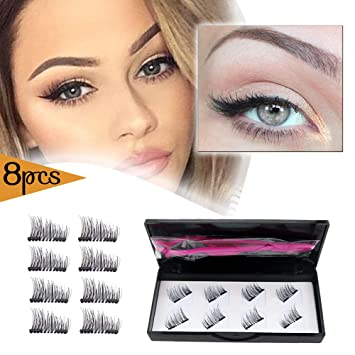 dcee09d558c Magnetic Eyelashes Dual Magnets False Eyelashes with Tweezer NO GLUE Fake  Lashes Extension for Natural Look