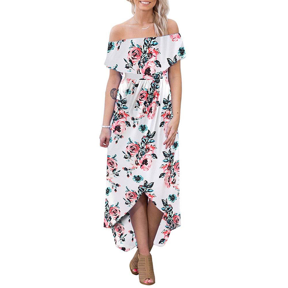 Womens Floral Off Shoulder Dresses - Summer Casual High Waist Slit Long Maxi Dress White