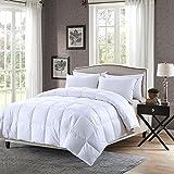Elliz Super White Down Comforter Year Round Warmth Duvet Insert 100% Cotton 600 Fill Power, King Size, White