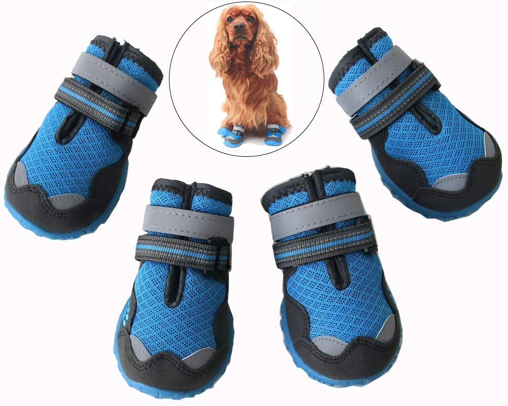 Morezi Breathable Pet Paw Protectors Mesh Dog Boots with Reflective and Adjustable Straps Wear-Resisting Dog Shoes for All Season - Blue - 1#