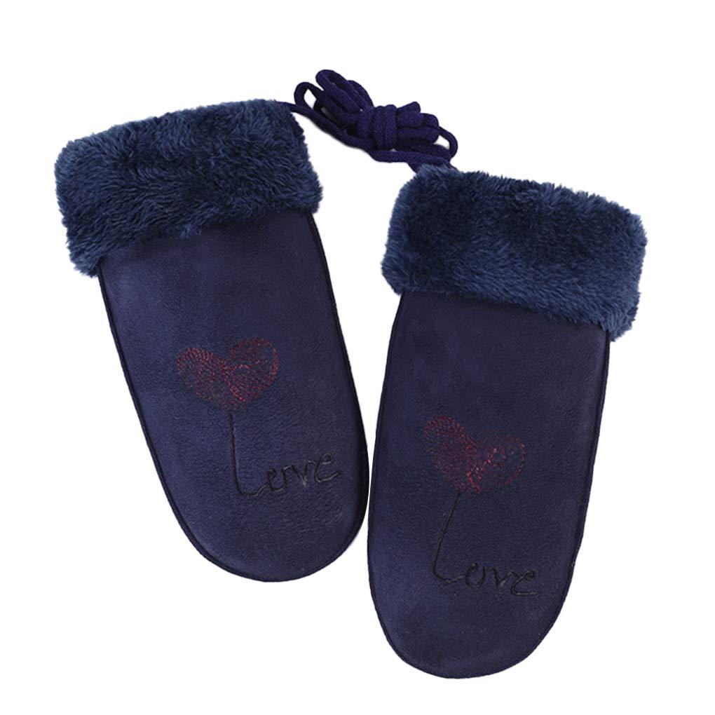 Beaums Women Girls Winter Warm Mittens Suede Coral Velvet Neck Hanging Windproof Outdoor Thick Gloves