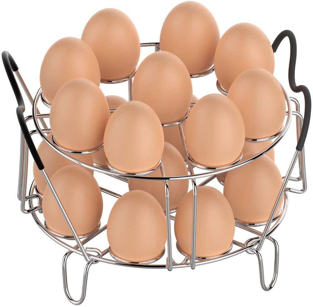 Egg Steamer Rack, Packism Stackable Instant Pot Egg Rack with Heat Resistant Silicon Handles for 6, 8 Qt Ninja Foodi Accessories Pressure Cooker, Cook 18 Eggs Stainless Steel Kitchen Steamer Rack