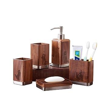 PLYY Bois Vintage Ensemble de cinq pièces pour salle de bain