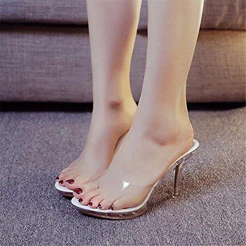 HXVU56546 La Nueva Moda Verano Mujer Zapatillas De Tacón Fino Con Cristal Ranurada Y Gruesas Sandalias Boca De Pescado ,39, Blanco