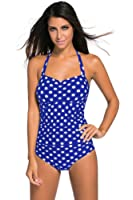MILAKOO Womens Classic Vintage One Piece Black Swimsuit Dot Print Soft Padded Bathing Suit.
