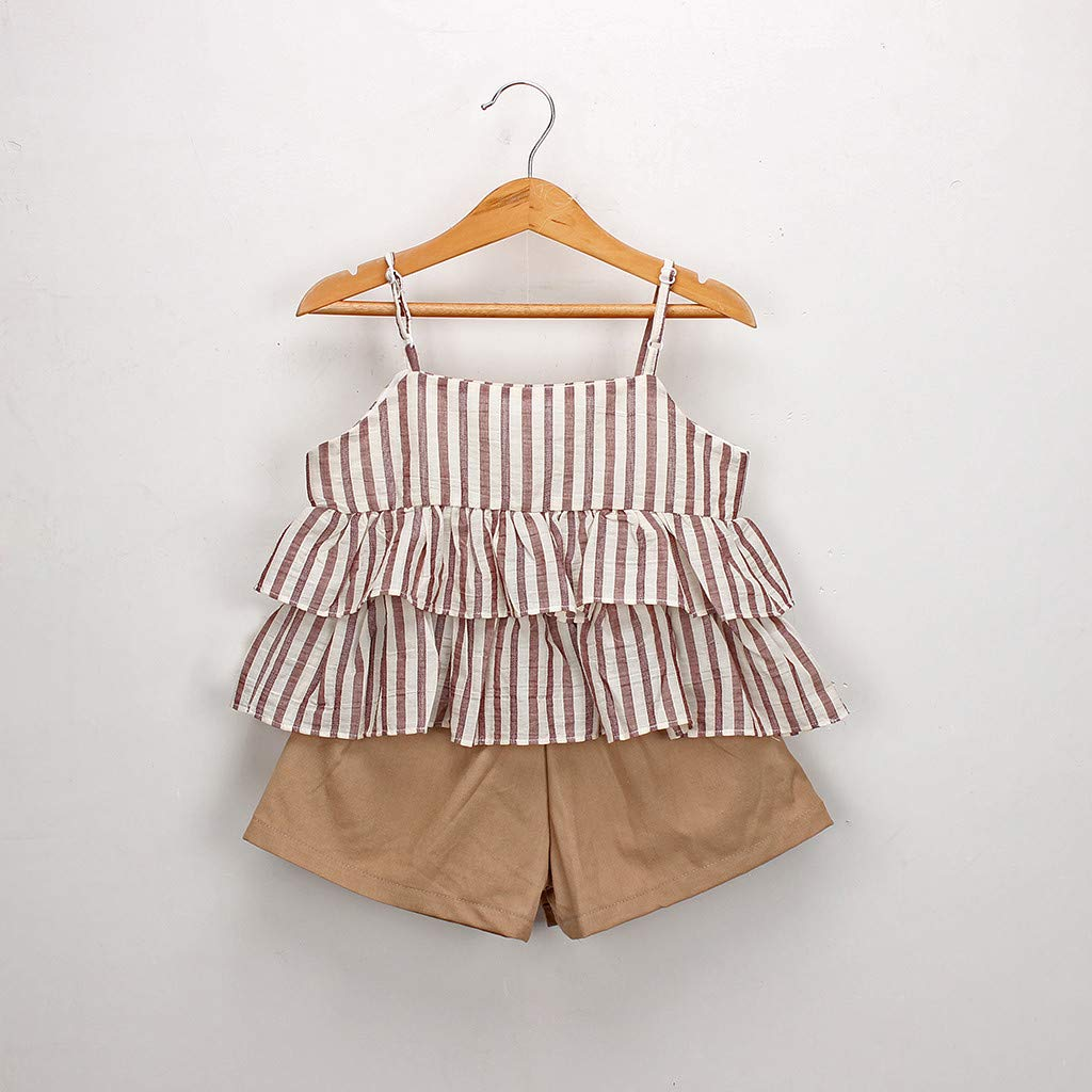 58e103f567d8 Amazon.com: Girls Culottes Set,Kids Striped Ruffled Suspenders Vest T-Shirt  Skirt Shorts Suit Outfits Clothes: Baby