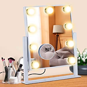 Hollywood Vanity Mirror,Anbage Vanity Mirror Led with Lights 9 Dimmable LED Bulbs for Dressing Room & Bedroom Tabletop or Wall-Mounted Slim Metal Frame Design 10X Detail Mirror (White)