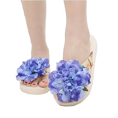 JITIAN Frauen Damen Girls Bohemia Flower Flip-Flop Sommer Fashion Dick Bottom Beach Thong Pantoffeln