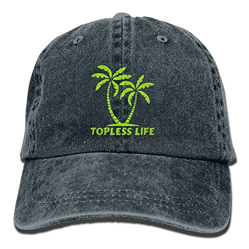 Topless Life Island Palm Trees Unisex Adjustable Cotton Denim Hat Washed Retro Gym Hat FS&DMhcap Cap Hat