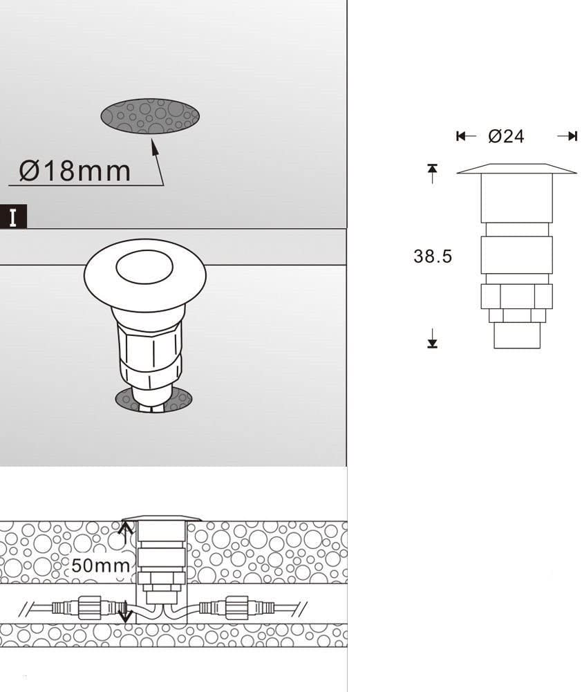 /Ø 24 mm faretto da incasso per scale set da 10 mini LED da incasso a pavimento DC12 V lampada da terra 10 bianco freddo. FVTLED 0,6 W IP67