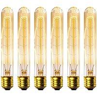 KINGSO 6 Pack E27 Edison Ampoules à Incandescence Vintage Lampe Filament Décorative T30 40W 220V Blanc Chaud Idéal pour Nostalgie et Eclairage Antique