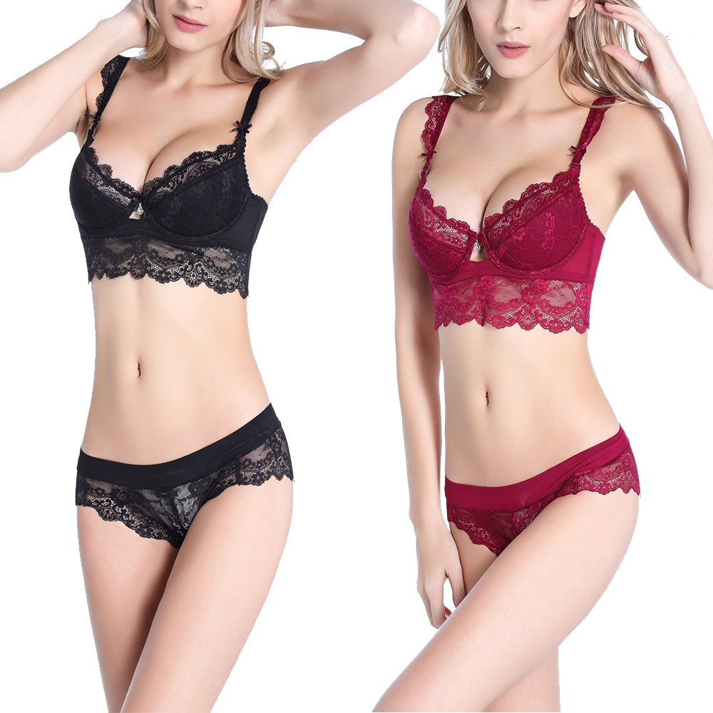 Women's Comfort Sexy Lingerie Push up Padded Underwire Embroidery Lace Bra and Transparent See Through Mesh Fine Panty Set Pack of 2 Black and Red 34C