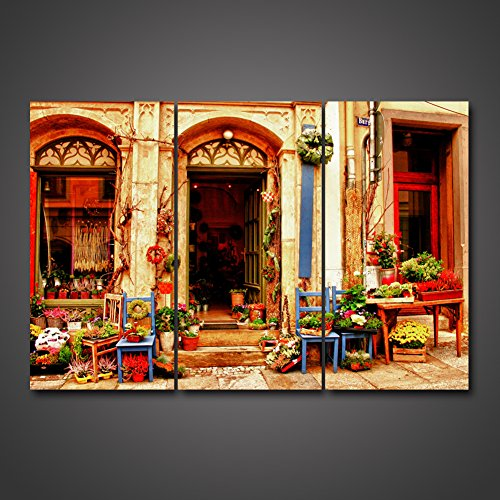 Grand Lion Fountain (Vintage Old Style Architecture Painting Wall Art Door Window The Picture For Home Decoration Charming Flower Shop Of Medieval Town Village Streetscape Print On Canvas HD Giclee Artwork by uLinked Art)