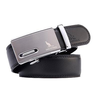 8e56c70c90f Belts Men SAN VITALE Men Luxury Designer Waist Belt Casual Reversible  Buckle with Automatic Ratchet Leather Elastic Mens Belts Harness 35mm Wide  1 3 8