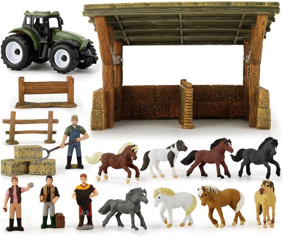 Establo de Caballos Playset Juguetes Paddock para Niños y Niñas y Arriba Casa de Muñecas Simulación Animal Racecourse Set Mesa de Arena Incluye 8 Caballos